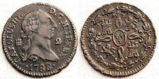 España-Carlos III. 2 Maravedis. 1788. Segovia. MBC+/VF+. Cobre 2,5 g. Escasa asi