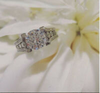 2CT OFF WHITE BRILLIANT MOISSANITE MICRO SET ENGAGEMENT RING 925 STERLING SILVER