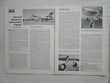 2/1974 ARTICLE 4 PAGES GENERAL DYNAMICS LIGHTWEIGHT FIGHTER F-16 YF-16 CUTAWAY