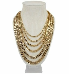 """Men's Concave Cuban link Chain 14k Gold Plated 20"""" 22"""" 24"""" 26"""" 30"""" inch Necklace"""