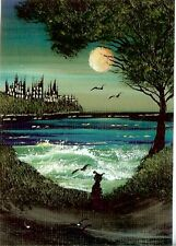 ACEO GLOSSY PRINT Halloween Gothic Castle Haunted Island Black Cat Print HYMES