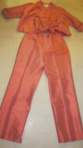 Talbots Women 2Pc Pure Silk Formal Top 6P & Pants 8P Coral Pre-owned