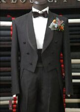 Custom Made Black Pinstripe Men Tailcoat,Bespoke long tail Men Tuxedo tailcoat