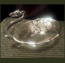 "Vintage Martinsville Glass Swan with SILVER overlay ~ 7.5"" Long ~ Poppy Flowers"