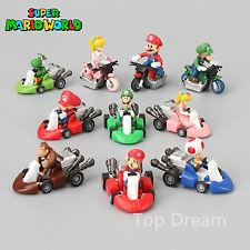 Lot 10 pcs Super Mario Bros Luigi Mini Kart Pullback Figure Collectable Doll Toy