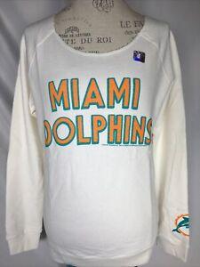 Junk Food Women's NFL Miami Dolphins White Sugar Sunday Sweatshirt MEDIUM NEW