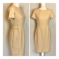 Episode Beige Short Sleeve Shift Dress Size 8 Smart Work Office Career VGC