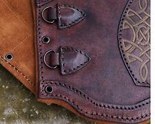 Brown/Gold Celtic Bracers Premium Padded Leather x2 Armor HEMA LARP SCA 3 Sizes