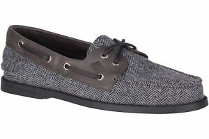 Sperry Top-Sider Men A/O 2 Eye Tailored Boat Shoes Size US 7M Black Grey