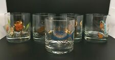 Set of 5 Couroc Low Ball/Rocks Glasses Assorted Patterns Vintage 1970's BIN
