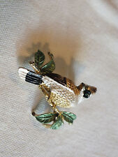 Beautiful Brooch Pin Gold Tone Bird Enamel Gold White Black Gree Rhinestones Eye