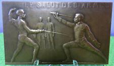 RARE médaille sport Escrime La leçon d'Armes duel épée fleuret sabre combat 1920