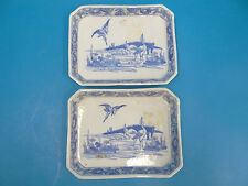 Antique Old Signed Blue and White Fine Porcelain China Crane Ming Style Plates
