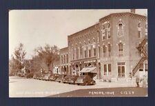 RPPC PANORA IOWA ODD FELLOWS BLOCK CAR AUTO STORE AD SIGN Vintage Photo Postcard