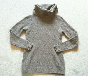 Womens Sweater-L L BEAN-brown wool blend cowl neck boucle pullover ls-S