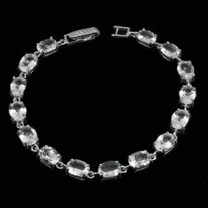 Bracelet Blue Aquamarine Genuine Natural Gems Solid Sterling Silver 7 1/2 Inch
