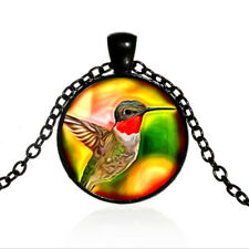Ruby Throated Hummingbird Black Dome glass Photo Art Chain Pendant Necklace