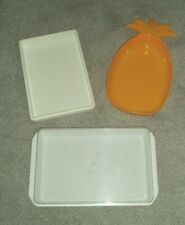 VINTAGE SERVING DISHES/TRAYS x 3 PINEAPPLE & RECTANGULAR TRAYS PLASTIC JOB LOT