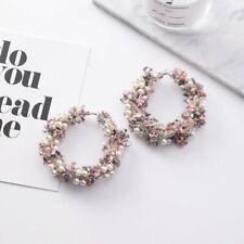 Fashion Geometric Flowers Circle Pearl Earrings Hoop Statement Charm Women Gift