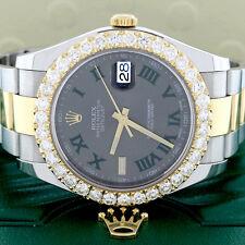 Rolex Datejust II 2-Tone 41MM Roman Dial Watch 116333 w/4.72Ct Diamond Bezel
