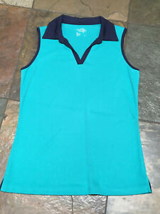 0420 MADE For LIFE MT Green Navy Sleeveless Quick Dry Active Tunic Length Top B
