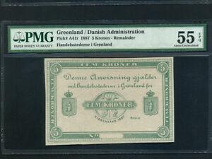 Greenland:P-A41r,5 Kronen,1887 * Danish * Remainder * PMG AU 55 EPQ * RARE *