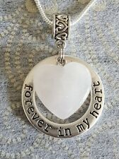 ROSE QUARTZ GEMSTONE FOREVER IN MY HEART CHARM PENDANT SILVER PLATED NECKLACE