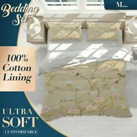 Floral Birds Chinoiserie Creamy Quilt Cover Sets Single Double Queen King Size