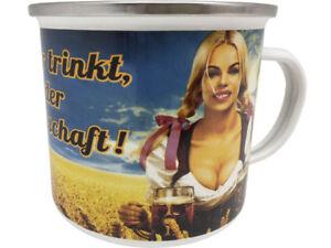 Wer Bier trinkt .. XXL Blechtasse Emaille Becher Tasse 9 x 9 cm Füllmenge 500 ml