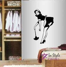 Vinyl Decal Maid Housekeeper Cleaning Lady Sexy Woman Wall Art Sticker 895