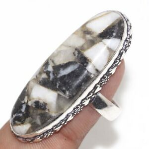 Copper White Buffalo Turquoise 925 Silver Plated Ring us 9 Unique Jewelry GW