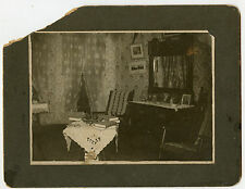 Antique Matted Photo -Interior of Home, Dresser W/ Photos / Table W/Cloth  Books