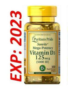 Vitamin D D3 5000IU Mega-Potency 100 softgels Pills Bone Health Max Strength USA
