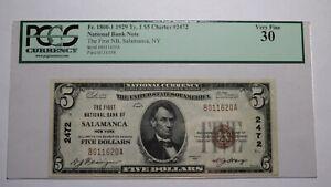 $5 1929 Salamanca New York NY National Currency Bank Note Bill!  Ch. #2472 VF!