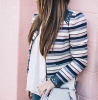 $328 Rebecca Minkoff Sz 8 Leather Studded Cropped Blazer Jacket Full Zip M Women