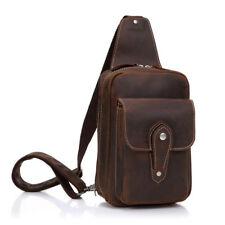 Men Bags Genuine Leather Messenger Shoulder Cross body Chest Sling Bag Day pack