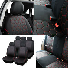 Hexagon Style Fabric Breathable 5-Seats Full Car Seat Covers Cushions Washable