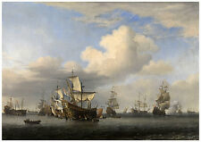 "Maritime ""Captured English Ships after the Battle"" Willem van de Velde ca. 1666"