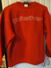 QUIKSILVER RED SWEATSHIRT-BOYS XL/MENS SM-80/20 COTTON/POLY-REPAIRED SLEEVE TEAR