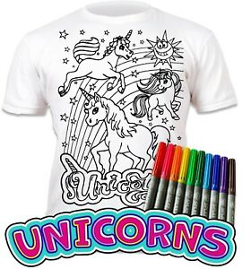 Splat Planet Colour-in Unicorn T-Shirt with 10 Magic Pens-Colour-in and Wash Out