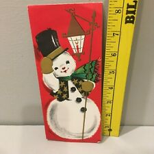 Vtg Christmas Card Snowman Black Top Hat Vest Lantern Green Scarf