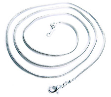 Necklace Chain Snake Silver Plate 24 Inch 1.2mm Thin Lightweight Lobster Clasp