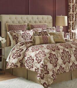 Croscill Home Esmeralda 4 Piece Queen Comforter Set —Red And Plum Damask Pattern