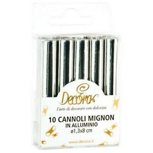DECORA 0060201 - 20 Pezzi Cannoli Mignon in Alluminio, 1,3x8 cm