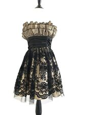 Roberta Womens Lace Dress Junior Size 3/4 Black Strapless Chiffon Floral Ruffle