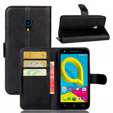 BLACK Premium New Phone Wallet Leather Case Cover For Alcatel U5 4G