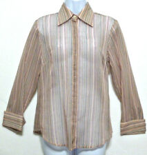 The Limited Ladies Pink and Gray Semi-Sheer Cotton Nylon Shirt - Size S (4-6)