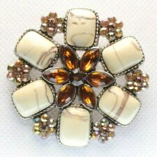 Brooch Pin - Flower - Brown & AB Rhinestones Yellow Acrylic Stones - Silver Tone