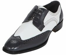 Bolano Men's Exotic Perforated Gray White Lace Up Wing Tip Oxford Dress Shoes