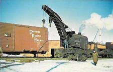 Canadian Pacific Railway Soo Line Steam Crane W2 Derailment 1958 Scene Postcard
